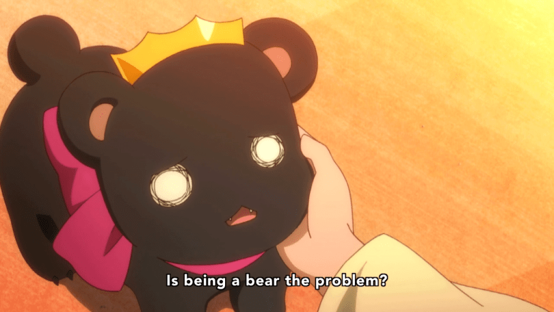 "A cute, cartoonish black bear in a crown looking sadly upwards. A human's hand is gently supporting her face. The subtitle reads: ""Is being a bear the problem?"""