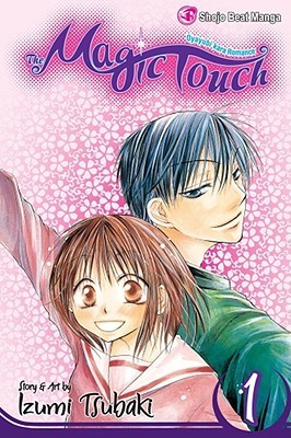 "The Volume 1 cover for the English version of ""The Magic Touch."" A teen girl in a uniform stands back to back with a teen boy. they are both smiling."