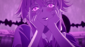 Yuno looking blissful and holding her hands to her face