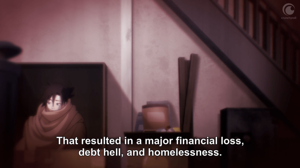 """A young man huddled in a blank sits at the foot of a drab staircase. Subtitles read """"That resulted in a major financial loss, debt hell, and homelessness."""""""