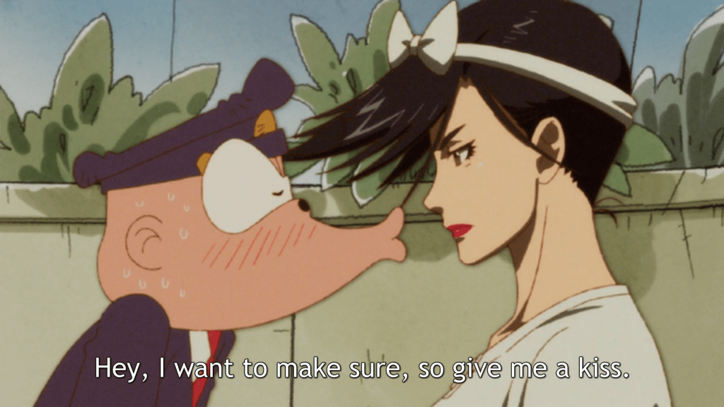 "A police officer leans forward making an exaggerated smooching face towards a feminine-coded characters. Subtitles read ""Hey, I want to make sure, so give me a kiss."""