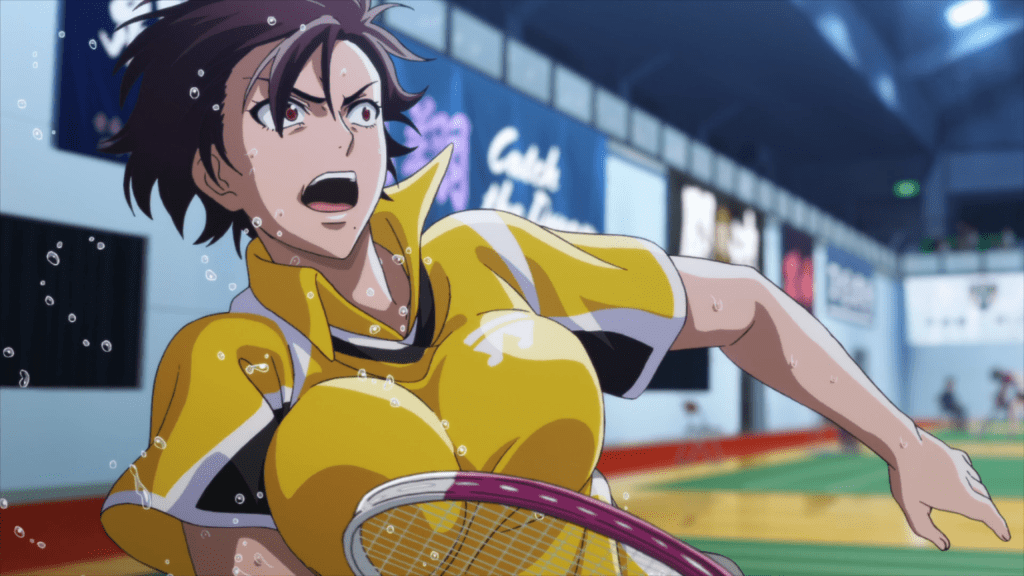 A mid-range shot of Nagisa falling away, sweaty flying, her boobs off-kilter like two melons in her shirt.