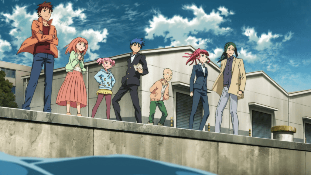 A group of seven people stand at a dock: three young men, an old man, two young women, and a girl. They're all in modern clothing.