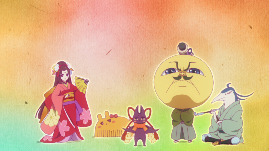 Five figures pose in a row. From right to left: A young woman in a layered kimono holding a fan; a small hair comb shaped like a rabbit; a bat-like creature wearing a red cord tied in a bow around its neck; a creature with a giant yellow head dressed in hakama, looking very serious; and a white creature with a long, bird-like face wearing traditional Japanese government robes, sitting with his legs tucked under him.