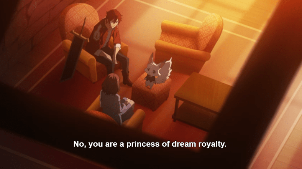 """A young man, young woman, and fox-like creature in a jacket sit in plush chairs at sunset. Subtitles read: """"No, you are a princess of dream royalty."""""""