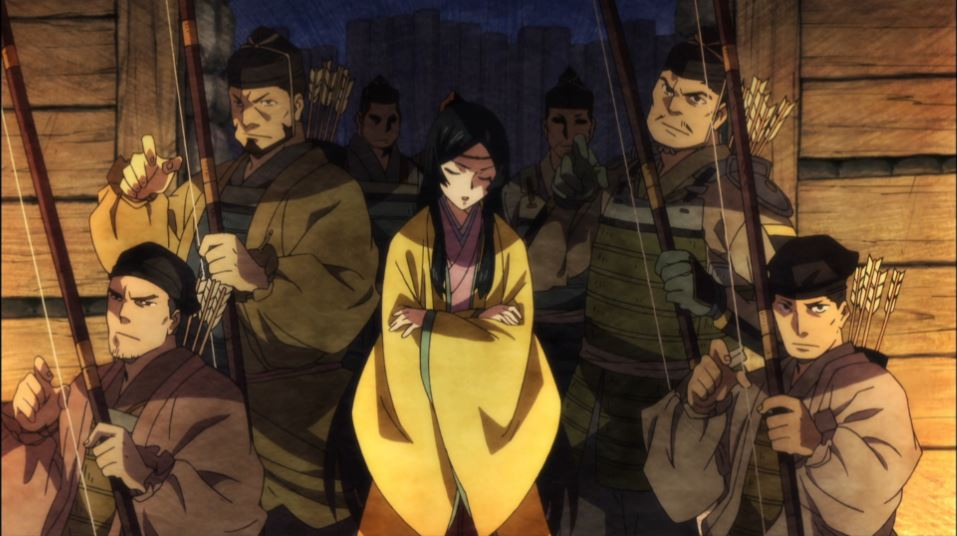 Teruhi crossing her arms and surrounded by ready archers