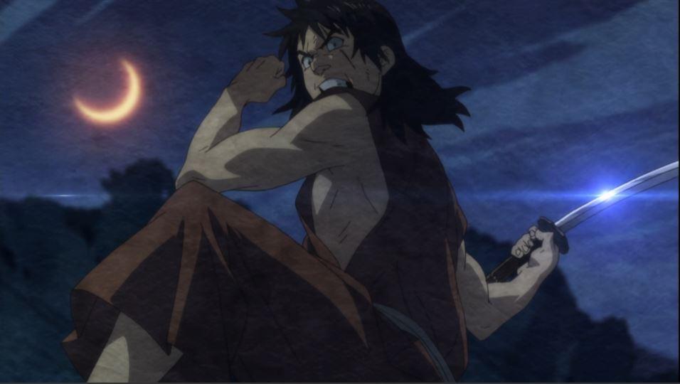 Jinzaburou drawing back his arm for a sword strike under an orange crescent moon