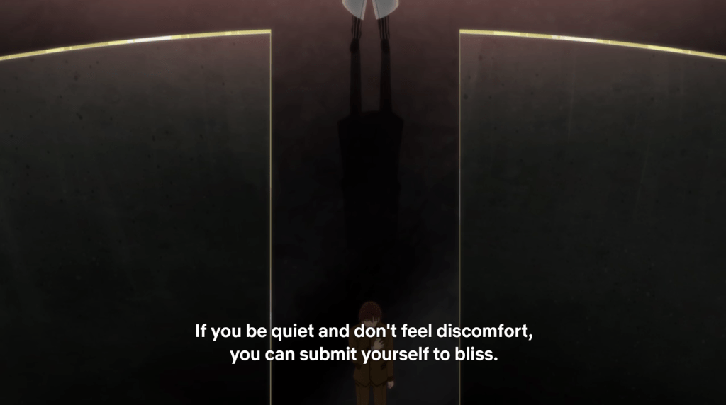 "a shot of a person walking through an abstract doorway. subtitles read ""If you be quiet and don't feel discomfort, you can submit yourself to bliss."""