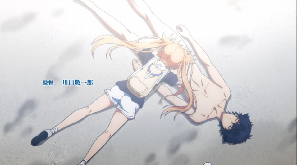 Karen faceplanted directly on top of an unconscious Setsuna's crotch