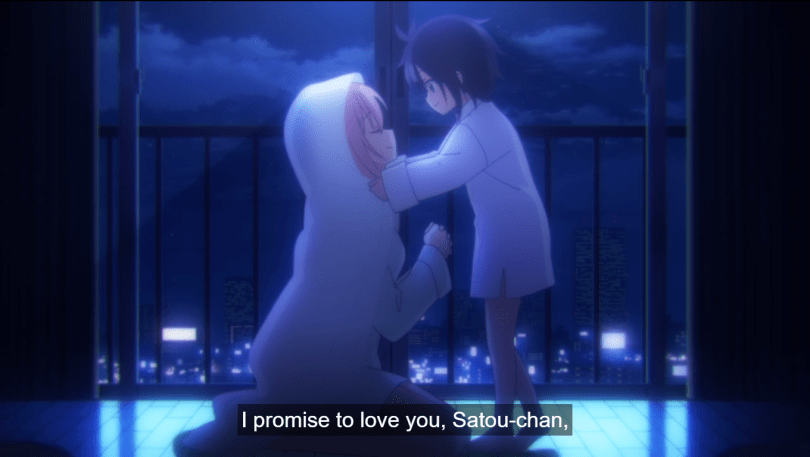 Shio holding Satou's face; Satou wears a blanket as a veil. caption: I promise to love you, Satou-chan