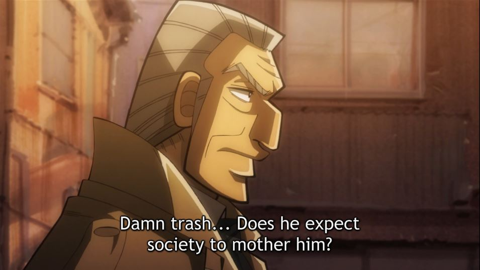 tonegawa walking down an alley. caption: damn trash...Does he expect society to mother him?