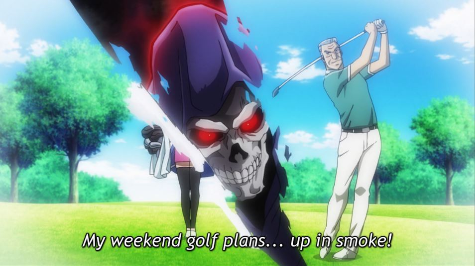 a fantasy image of Tonegawa playing golf being ripped apart by the grim reaper. caption: my weekened golf plans...up in smoke