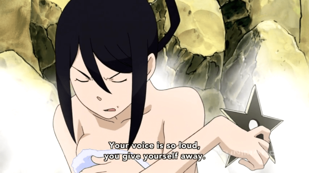 Tsubaki in the bath, holding a shuriken. subtitle: Your voice is so loud, you give yourself away.
