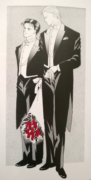 Ash and Eiji in tuxedos with red roses, taken from the art book
