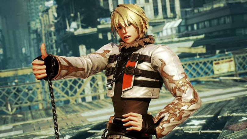 Leo posing with their sword in Tekken 7