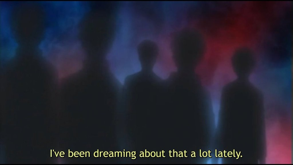"A group of shadowy figures against a murky background. Subtitles read: ""I've been dreaming about that a lot lately."""
