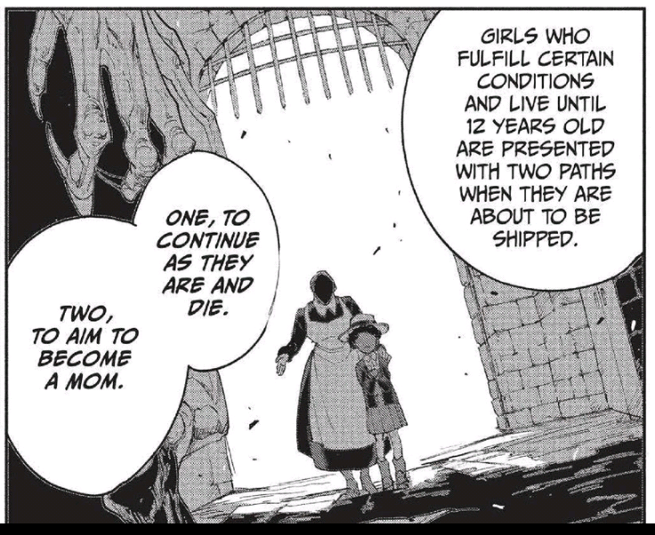 """A manga panel showing a young Krone standing next to an older woman, her face in shadow, as the two stand inside a gated archway. The text explains that some girls have two options """"One, continue as they are and die. Two, to aim to become a Mom."""""""