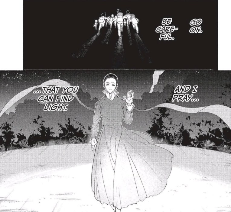 "Manga panels. On top, a group of kids run off into darkness. On the bottom, a woman waves and smiles warmly. Text reads ""Go on. Be careful. And I pray you an find the light."""