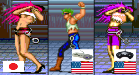 side-by-side comparisons of the three versions of Poison (original, male US sprite, and updated female sprite)