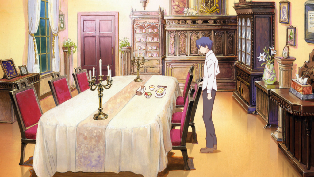 In an elaborate dining room, Shinji pulls up a chair and looks down at a multi-course meal seat at the table.