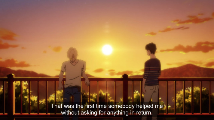 Ash and Eiji standing on a balcony at sunset. subtitle: That was the first time somebody helped me without asking for anything in return