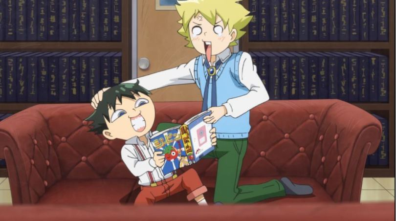 Muhyo and Roji fighting over a manga magazine in their office