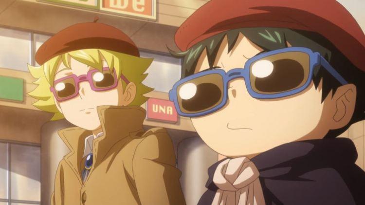 Muhyo and Rohji wearing sunglasses, berets, and trenchcoats