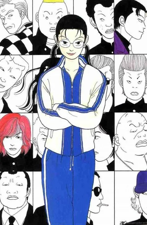 Yankumi with her arms crossed and surrounded by headshots of her students