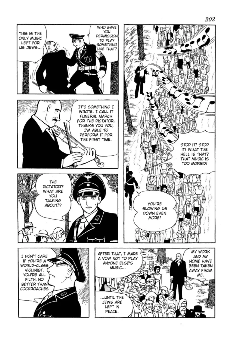 "A manga page from ""Message to Adolf."" In the page, a Jewish man is accosted by an SS officer for playing the violin. He says he's playing a piece he wrote called ""Funeral March for the Dictator"" and that he swore never to play anything else until ""the Jews are left in peace."""