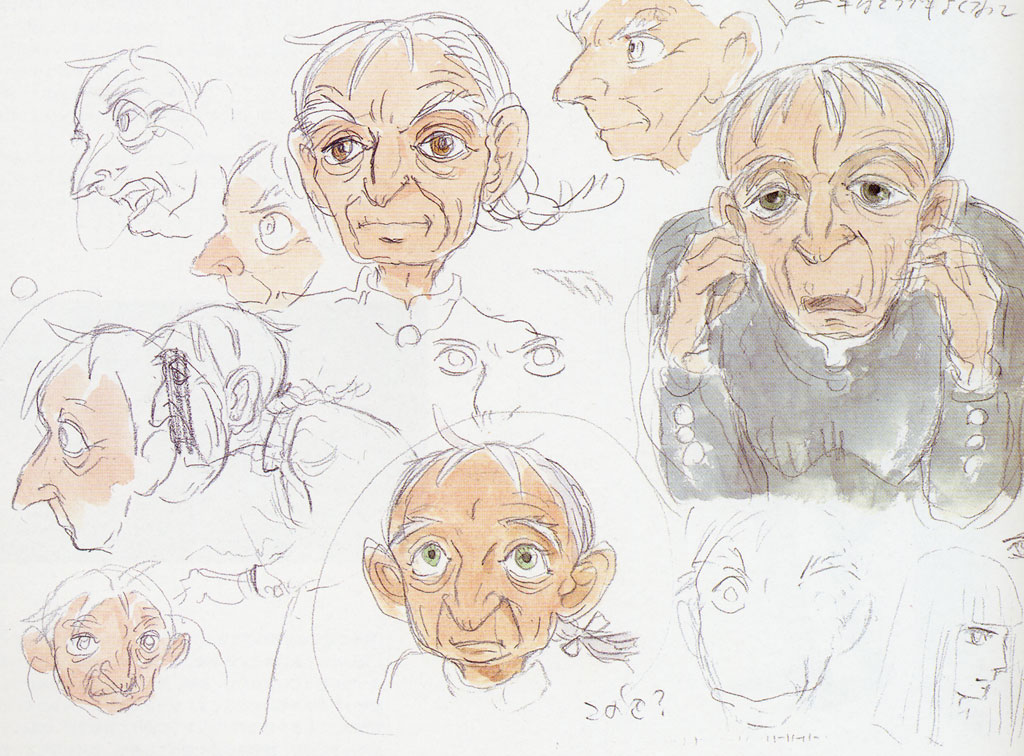 concept sketches of Sophie as an old woman
