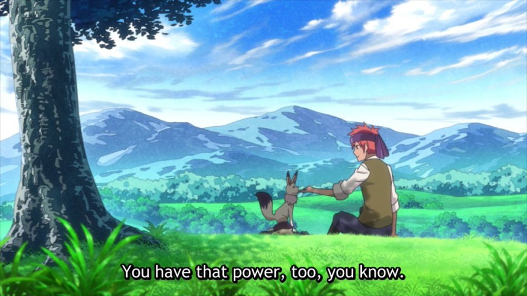 "A young man wearing a bandana sits on a hillside, one hand outstretched to a white fox-like creature. Subtitles read: """"You have that power, too, you know."""