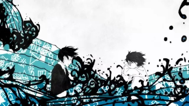 Two colorless teen boys sit amid abstract waves in sharp blacks and light blues