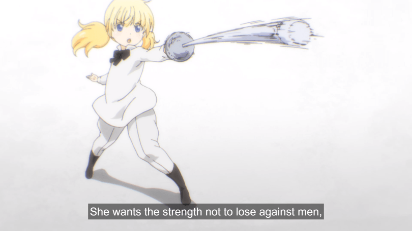 A young Juliet dressed in a white fencing uniform lunges with a fencing sword.