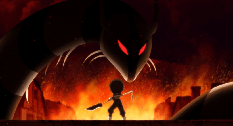 A woman with fluffy hair holds a spear and faces off against a large, ferret-like monster with glowing red eyes. Flames surrounded them.