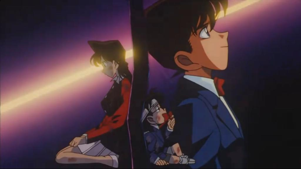 Ran listens to Conan speaking as Shinichi through a voice changer