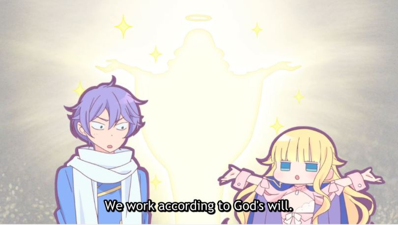 Beelzebub as a chibi lifting her arms next to an incredulous Mullin, with an image of Christ in the background. subtitle: We work according to God's will