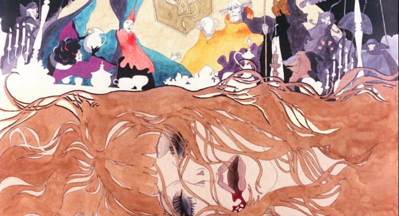 Close up of Jean's weeping face with a collage of sinister figures surrounding her