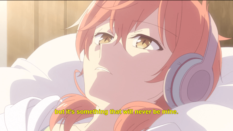 Yuu in bed with headphones. subtitle: but it's something that will never be mine