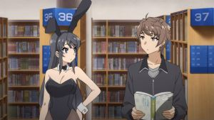 Sakuta and bunny suit wearing Mai staring at one another