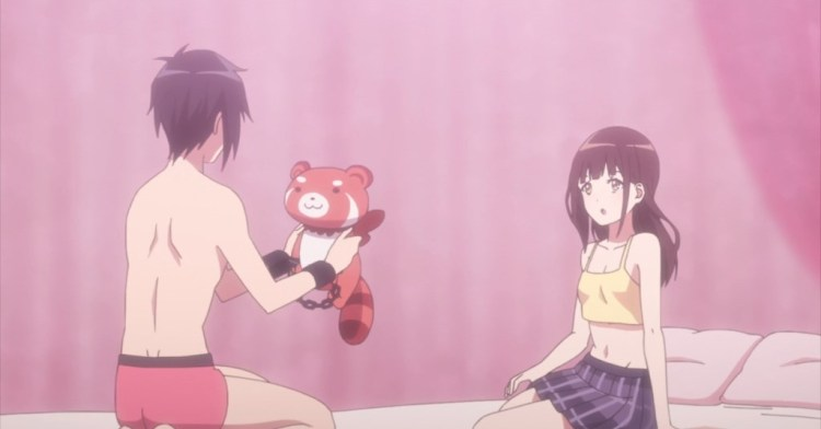 A teen girl and boy sit on a bed in their underwear. The boy is wearing handcuffs and holding a tanuki.