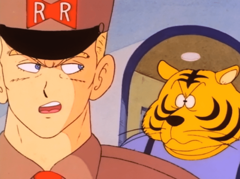 Close-up of General Blue talking over his shoulder to an anthropomorphized tiger