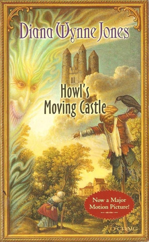 """The cover of the Howl's Moving Castle novel. It features a soaring castle, a flame-faced figure, and a scarecrow. A splash in one corner says """"Now a major motion picture"""""""
