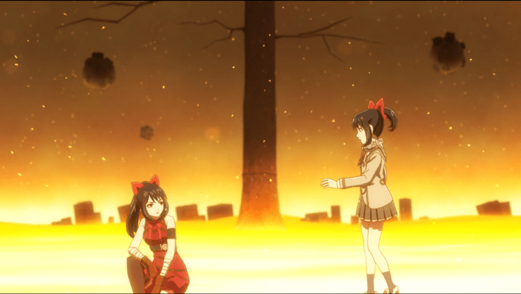 Asuka staring at her alternate counterpart against the otherworld backdrop