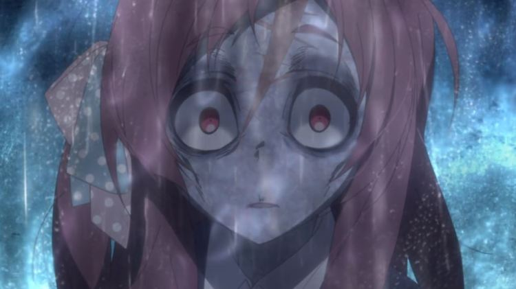 Sakura in the rain with a zombiefied face