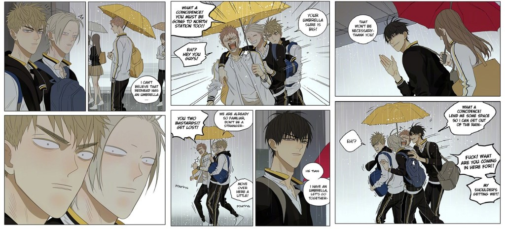 three pages from the manga where the two love interests fight over who gets to share an umbrella with the protagonist