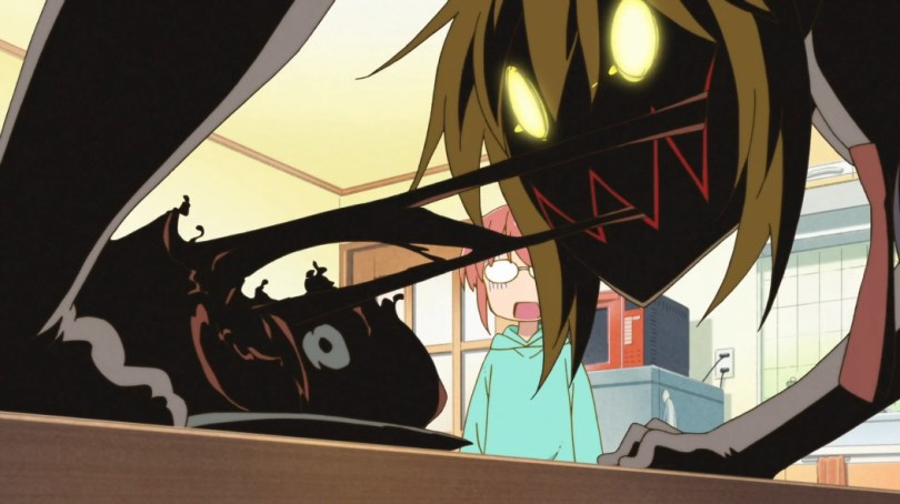 Screenshot from Miss Kobayashi's Dragon Maid. Tohru rips into her dinner with glowing eyes and sharp teeth, with Kobayashi looking horrified in the background.