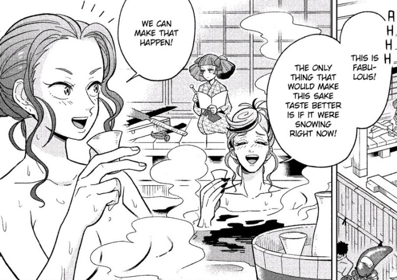 Mars and Venus soak in a hot spring and enjoy sake together. Behind them, Pluto is sitting on the ledge in a yukata, working on an animal design.