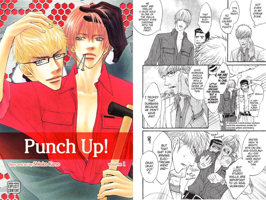 The cover with the protagonist being embraced from behind, and a page of the two meeting over a dispute at the protagonist's carpentry job
