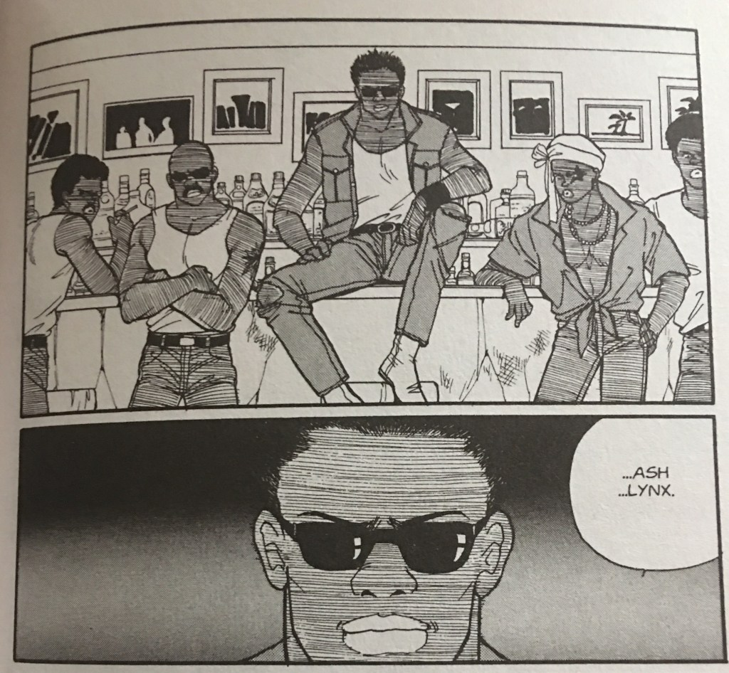 Cain sitting on a bar counter surrounded by members of his gang