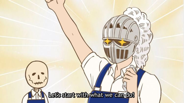 A bookstore employee with a knight armor helm on throwing her fist into the air with determination. subtitle: Let's start with what we can do!